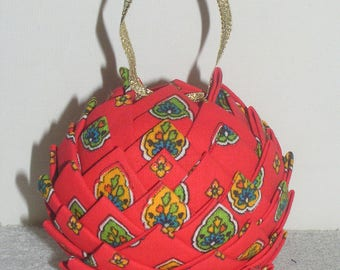 Original Xmas balls red printed provencal decoration
