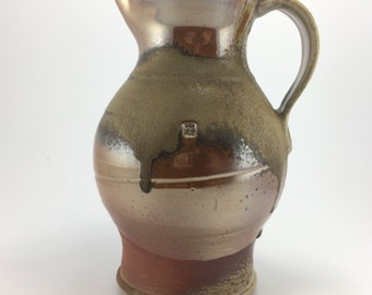 "Woodfired Shino Pitcher - 11"" Tall"