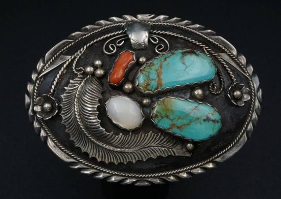 """Hand Signed 4"""" Navajo Calladitto Sterling Silver Turquoise MOP Belt Buckle M346"""