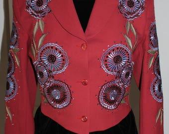 Vintage Manuel Collection Designer Jacket/Blazer With Swarovski Crystals