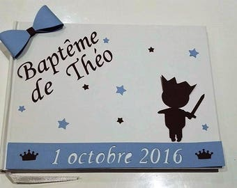 Guestbook baptism prince - blue, Brown and white - customizable