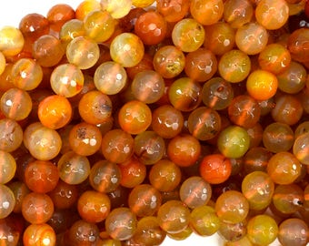 "8mm faceted orange carnelian round beads 15"" strand 38802"