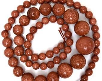 "6-14mm goldstone round beads 17"" strand 38349"