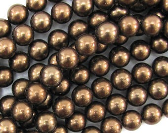 "6mm brown shell pearl round beads 16"" strand 13955"