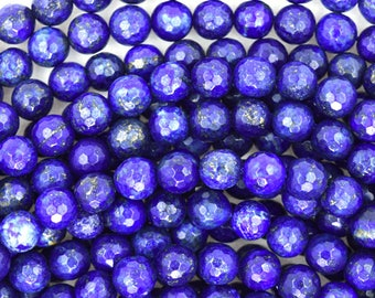 "8mm faceted blue lapis lazuli round beads 15"" strand 35373"