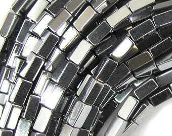 "4mm hematite side tube beads 16"" strand silver color 34997"