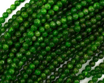 """4mm - 4.5mm Russian green chrome diopside round beads 15.5"""" strand 39673"""