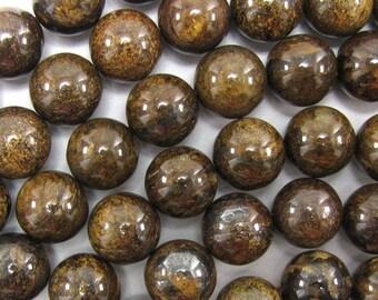 """14mm bronzite round beads 15.5"""" strand 33423"""