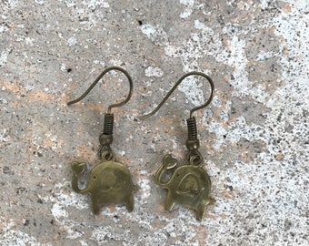 Dangle Elephant Earrings