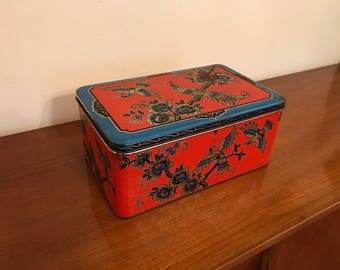 Vintage 50s tin box - peacocks - red and blue - canister - tin bin