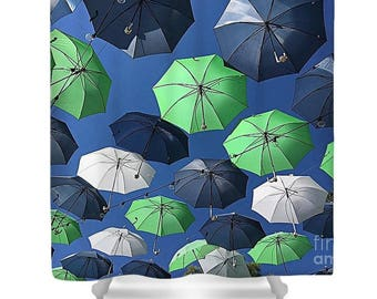 "Shower Curtain ""Gone Umbrellas"""