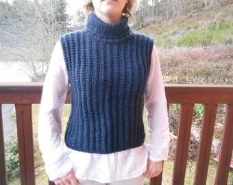 Dark blue acrylic and wool sweater.