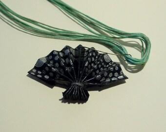 Origami fan necklace