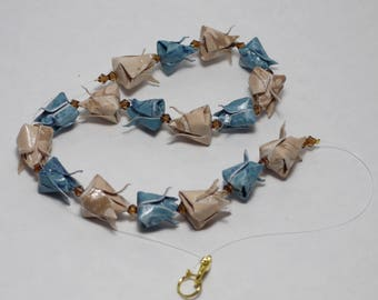 Blue and beige tulips Origami necklace