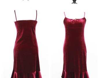 VTG Vintage Maroon Velvet Mid Length Dress W/ Flared Hem