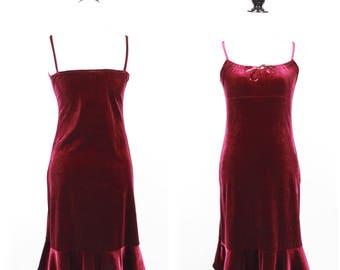 VTG Vintage Maroon Velvet Mid Length Dress W/ Flared Hem