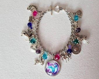 Unicorn themed charm bracelet