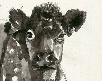 Inky Cow mounted Limited Edition Giclee Print