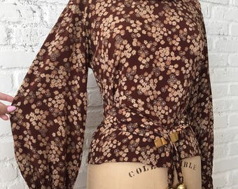 SOLD do not purchase! 1930s Silk Floral Blouse, Chocolate Gold Belted Top
