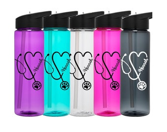 Vet Tech Water Bottle, Paw Print Water Bottle, Vet Tech Stethoscope Water Bottle Vet Tech Gift, Vet Water Bottle, Vetrinarian Gift