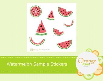 Watermelon Stickers, Watermelon Sample Set, Sample Stickers, Watermelon Planner Stickers, Watermelon Planner, Summer Stickers