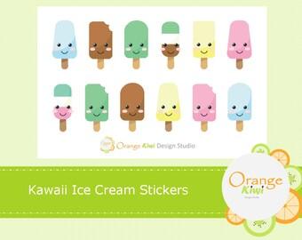 Kawaii Ice Cream Stickers, Ice Cream Planner Stickers, Ice Cream Stickers, Kawaii Stickers, Popsicle Stickers
