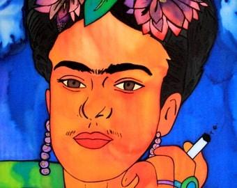 Frida painting on silk by Ausra Dajore, Modern art