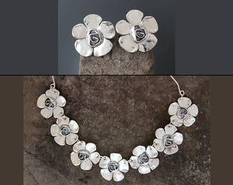 Sterling Silver Jewelry Set - Petal Rose Jewelry - Statement Earrings - Flower Earrings - Floral - Sterling Necklace - Statement Jewelry