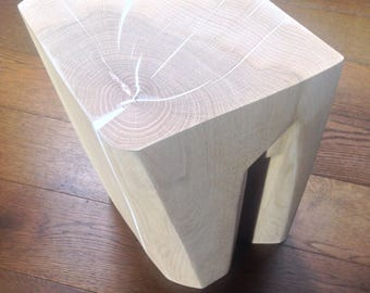 Side Table - Solid Oak Sculpted