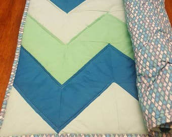 Aqua Blue Chevron Quilt - Under the Sea Quilt / Baby Quilt