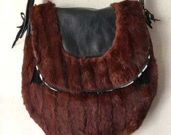 Really fabulous crossbody bag from real mink fur&leather velvet fur soft leather bag with decoration stylish bag new collection size-medium.