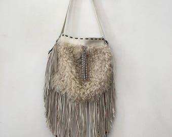 Fur sheepskin bag , size large.