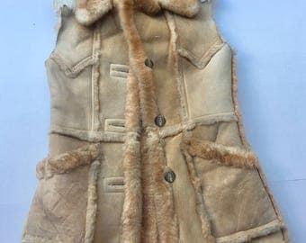 Winter Warm Mid Length Vintage Soft Fur & Velvet Suede Vest Women's Beige Size Medium.