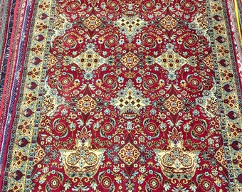 Flowered rug 100% wool floral pattern rug red blue and yellow color warm vintage rug heavy old rug big retro suitable for home&restaurant.
