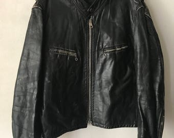 Motorcycle Short Vintage Black Durable Genuine Leather Jacket Men's Size Medium.