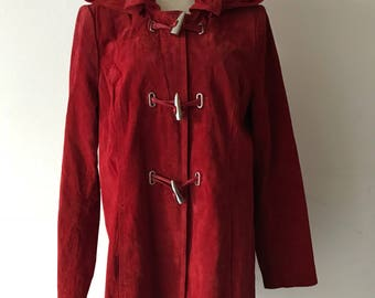 Red suede leather jacket woman size medium