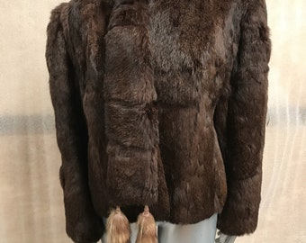 Brown soft rabbit fur coat with beautiful scarf woman size small .