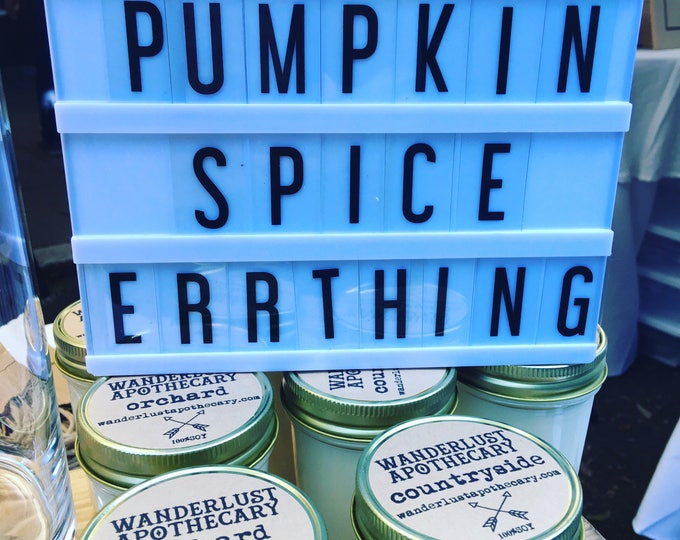 fall soy jar candle pumpkin spice countryside