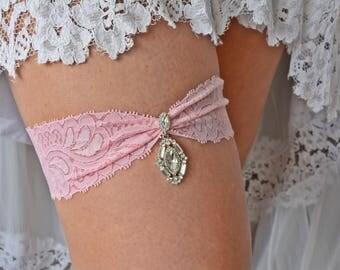 Pink Wedding Lace Garter Set, Pink Bridal Garter, Wedding Garter Belt, Rhinestone Garter, Wedding Garter Pink, Toss Garter Pink, Keep Garter