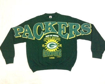 Rare !! Vintage 90s Green Bay Packers Sweatshirt Central Division NFL NFC Champion Packers Pullover Crewneck Sweater Size L