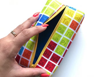 Rainbow periodic table pencil pouch