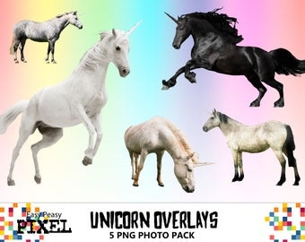 UNICORN OVERLAYS, Photoshop Overlays, Fantasy Overlays, PNG, Instant Download