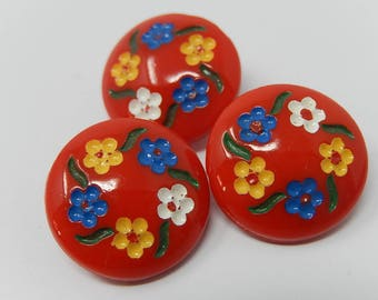 Three old red opaline buttons, diameter 1.9 cm, free shipping!