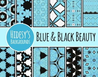 Digital Paper - Blue and Black Beauty Patterns / Backgrounds Commercial Use Backgrounds