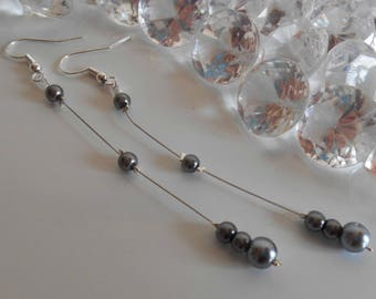 Wedding earrings charcoal grey pearls