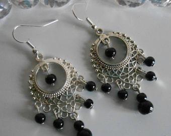 Gypsy dangle earrings black pearls