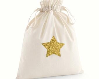 Glitter and Neon Star Gift Drawstring Bags / Christmas Gift Bag
