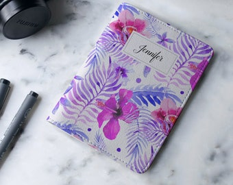 Personalized Watercolor Floral Summer - Passport Cover/Holder - Travel Passport Cover - High Quality Handmade Leather | TTG-PPC-827