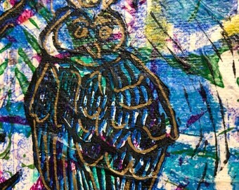 "Mixed Media Owl Monoprint 6"" canvas Wall art. Mix and match, buy one get one FREE"