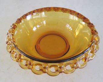 Vintage Amber Glass Lace Bowl